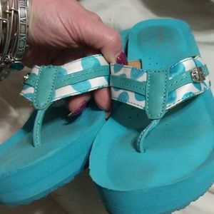 Coach wedge flip flops